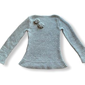 VINTAGE Wool chunky grey knit sweater straightneck